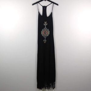 Dresses & Skirts - Black Boho Fringe Festival Maxi Dress Summer
